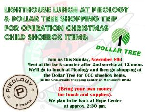 2015 OCC pieology & dollar tree shopping trip