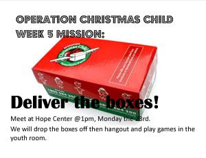 2015 OCC Week 5 mission drop off day