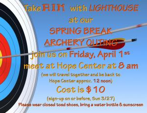 4-1-16 LH SPRING BREAK 2016 ARCHERY EVENT-AIM annoucement slide