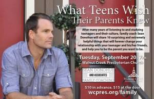 Sean Donahue parent workshop flyer
